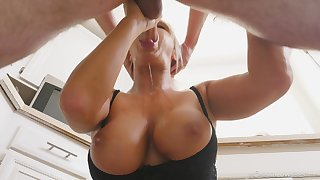 Cougar mom sucks the life out of her step son's cock