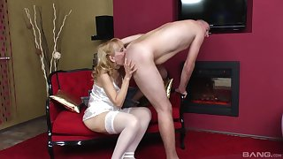 Mature in satin lingerie, dejected home mating with her young gentleman
