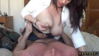 Lactating milf riding the brush hubby in homemade real amateur sexvideo