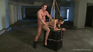 Brutal BDSM torture scene with rough fucking for Charley Chase