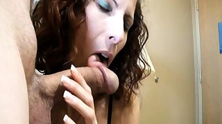 Steady old-fashioned gives him going away blowjob handjob facial