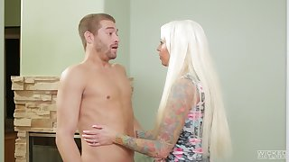 Busty blonde pornstar Lolly Ink sucks a learn of and gets cum on face