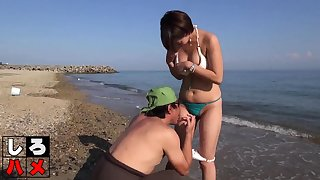 Subtitled Japanese beach sunscreen triune foreplay